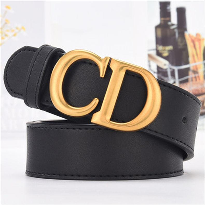 Image of DIOR Fashion Women Cool Canvas CD Letter Smooth Buckle Waist Belt Black