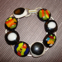 Black and White - Dichroic Bracelet - Fused Glass - Art - Bracelet - Jewelry - Silver - Spring 2014 - Bling - Made in Canada