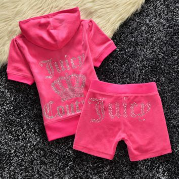 Fashion Velvet tracksuit pants with short sleeves hot drill head Rose red (9 color)