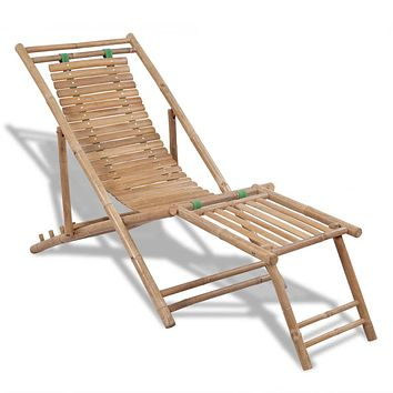Outdoor Deck Chair with Footrest Bamboo