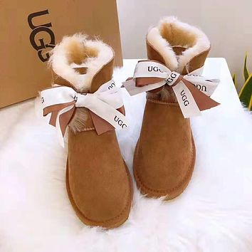 """UGG"" Winter Trending Women Stylish Warm Bowknot Wool Snow Boots Shoes Brown"