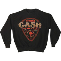 Johnny Cash Men's  MIB Guitar Pick Sweatshirt Black
