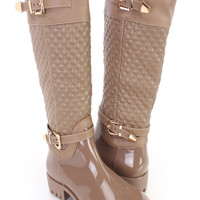 Taupe Stitched Rubber Rain Riding Boots Faux Leather