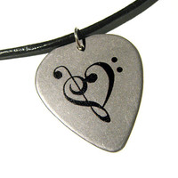 Steel Music Heart Guitar Pick Necklace w/ 18inch leather cord
