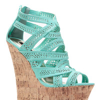 Mint Laser Cut Curves Ahead Cork Wedges