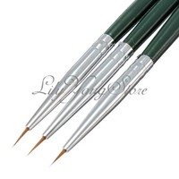 3PCS Tiny Liner Acrylic Nail Art Tips Design Pen Painting Drawing Brush Set DIY