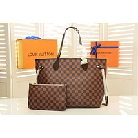 LV Louis Vuitton DAMIER CANVAS GM NEVERFULL HANDBAG TOTE BAG