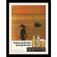 "1971 Miller High Life Beer Ad ""Man Fishing Sunset"" Vintage Advertisement Print"