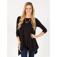 Flowy Asymmetrical Top - Black