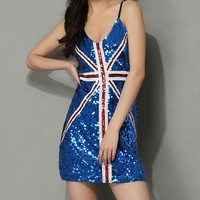 Sequin UK or USA Flag Slip Dress - 6 Styles