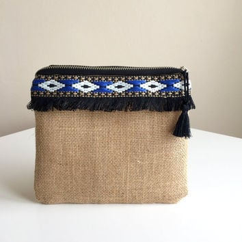 Ethnic Zippered Pouch,Fringe Make up bag,Burlap Cosmetic Bag,Ethnic Clutch,Boho zipper pouch,Fringe zipper pouch,bohemian pouch,coin purse