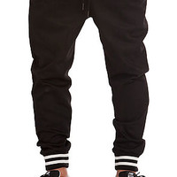 The Varsity Rib Denim Jogger Pants in Black