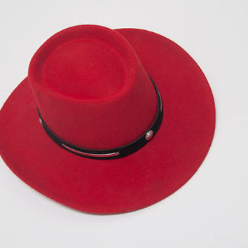 """Bright Red Cowboy Concho Hat 20.5"""" Size 6 7/8 