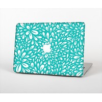 The Teal and White Floral Sprout Skin Set for the Apple MacBook Air 11""