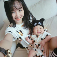 1PC 2016 New Summer Mother Dresses Baby clothes Family Matching Outfits dress and baby jumpsuit mother daughter clothes LL222