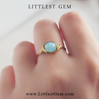 Blue Opal ring - unique rings - custom