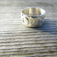Large Silver Band, Wide Thumb Ring, Fusion Ring, Artistic Silver Ring, Handcrafted Jewelry, Wedding Band