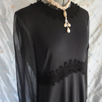 ON SALE 70s Dress // Vintage 1970's Black Maxi Dress with Sheer Chiffon Sleeves and Lace Trim by Acclaim Seymour Levy Size L 34 waist