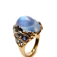Moonstone and Gold Ring with Diamond and Sapphire by Simon Teakle for Preorder on Moda Operandi