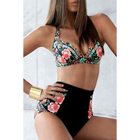 Floral Print High-Waisted Women's Bikini Set