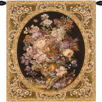 Floral Composition in Vase Dark Green Italian Wall Hanging