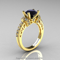Modern Armenian Classic 14K Yellow Gold 1.5 Ct Black and White Diamond Wedding Ring R137-14KYGDBD