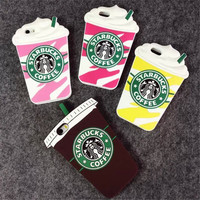 Hot Sale 3D Cartoon Silicon Starbuck Coffee Cup Case Cover for Apple iPhone 4 4s 5 5s SE 6 6S 6 Plus Mobile Phones