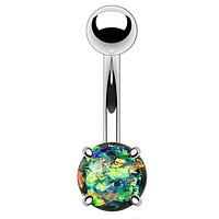 BodyJ4You Belly Button Ring Green Fire Created-Opal Glitter