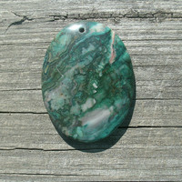 Green Crazy Lace Oval Pendant Bead, polished and drilled, ready for DIY jewelry supply needs, mix of green tones and other inclusions