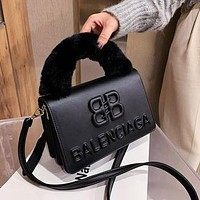 Balenciaga BB new plush handbag fashion small square bag ladies shoulder messenger bag