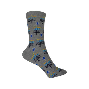 Menorahs Crew Socks in Sweatshirt Gray