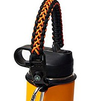 Best Hydro Flask Paracord Handle -WaterFit Paracord Carrier Survival Strap Cord with Safety Ring and Carabiner for Hydro Flask Nalgene CamelBak Wide Mouth Water Bottles 12oz - 64 oz