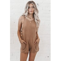 Sunset Stroll Sand Colored Romper