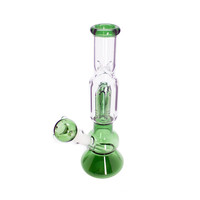 Single Tree Perc Bong with Beaker Base - Glass - Green - 11.5 Inches