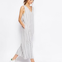 ASOS Jersey Jumpsuit with Wide Leg in Variegated Stripe at asos.com