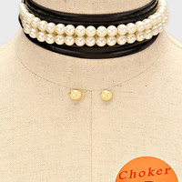 "74"" pearl faux leather tie layered wrap choker collar bib necklace .40"" earrings"