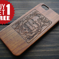 Engraved Skull iPhone Case , Artistic Skull iPhone Cover , Wood iPhone Case , Personalized Phone Case , Cool Mens Gift , Love to Death
