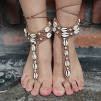 Ethnic Shell Anklet Bracelet Crochet Barefoot Sandals Handmade Foot Jewelry Accessory Gift-02