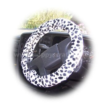 Dalmatian Spot fuzzy faux Pony skin Velboa car steering wheel cover