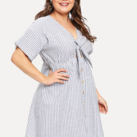 Plus Striped Single Breasted Cut Out Knot Front Dress