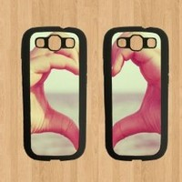 Hand Heart Best Friends For Samsung Galaxy S3 Case Soft Rubber - Set of Two Cases (Black or White ) SHIP FROM CA