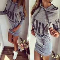 SIMPLE - Grey Long Sleeve Women Casual Long Sports Hoodies One Piece Dress b4134
