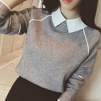 Women's Pullovers cotton Spell Color Doll Collar Casual Sweater