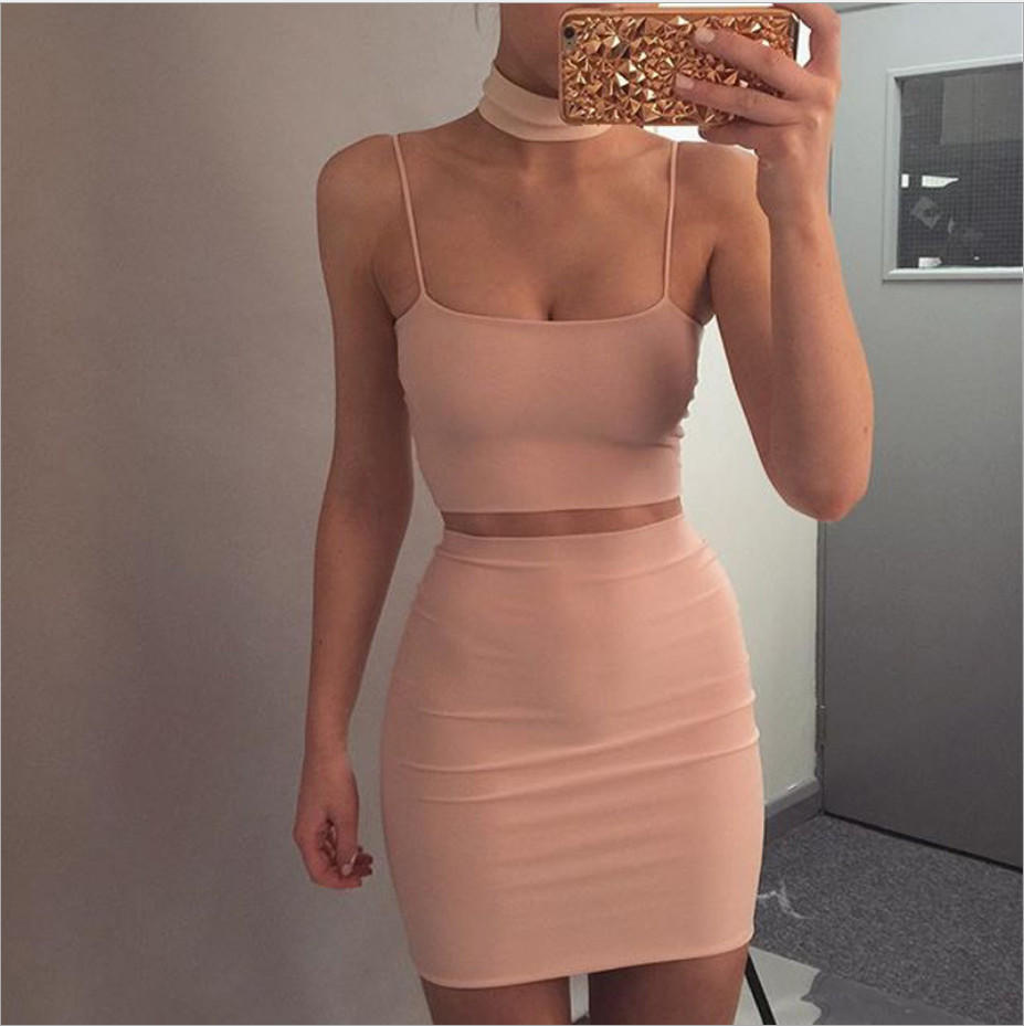 Image of Sexy straps apricot two piece halter neck dress