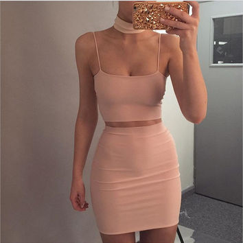 Sexy straps apricot two piece halter neck dress