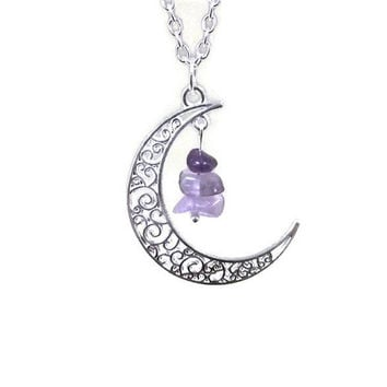 Silver Moon and Amethyst Necklace, Crescent Moon Necklace, Purple Gemstone Necklace, Protection Necklace,Healing Necklace,Celestial Necklace