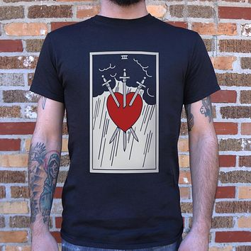 Tarot Three Of Swords T-Shirt (Mens)