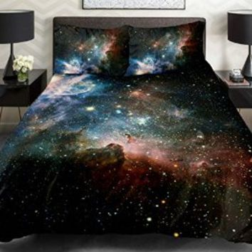 Anlye Black and Blue Galaxy Bedding Set 2 Sides 3d Printed Cloud Quilt Coverlet Galaxy Flat Sheet with 2 Bedroom Pillow Covers Queen