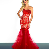 Sexy Red And Nude Lace Dress With Sheer Layer - Unique Vintage - Cocktail, Pinup, Holiday & Prom Dresses.
