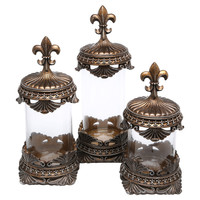 3-Piece Jacinthe Canister Set in Brown